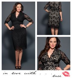 Gorgeous!  So many women can't be wrong...  The Plus Size Scalloped Boudoir Lace Dress by Kiyonna has been a consistent best seller year after year.  Soft stretch lace hugs your curves for a comfortable and sexy fit.  Not skimping on details, this gorgeous plus size dress features a scalloped edge along the neckline, sleeves and hemline.  This is the perfect cocktail dress to keep in your closet.  Wear it weddings, cocktail parties, reunions, etc.   #plussize #kiyonna