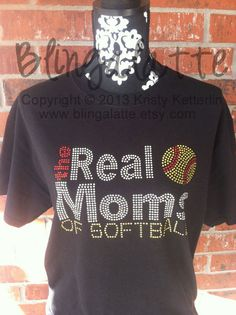 Softball Bling Shirt, Softball Rhinestone Shirt, The Real Moms of Softball, Yellow, Red, Softball