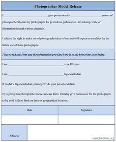 A Photographer Model Release Form Is Used By Photographers To Get Consent  From The Model So That No Objection Is Later Made To The Use Of The  Material.