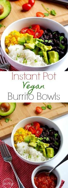 These vegan burrito bowls are delicious and filling, perfect for a meatless meal that everybody loves! #easy #recipe #instantpot #maindish