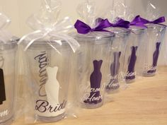 Quantity 5 Bridal Party gift Personalized acrylic tumbler 16oz w/ lid and straw - Bridesmaid, bride, Flower girl dress, name or monogram. $55.00, via Etsy.