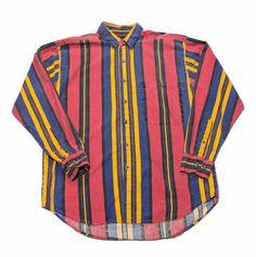 Vintage 90s Pink/Yellow/Purple Striped Button Up Shirt Mens Size Medium $30.00