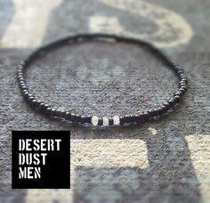 Moonstone mens bracelet with japanese black sed bead by DESERTDUSTMEN on Etsy