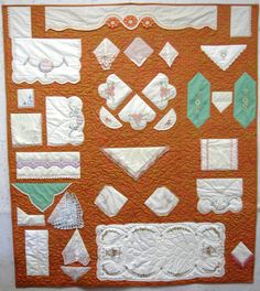 Beautiful embroidery table scarfs and etc. I created into a memory quilt for a customer.