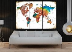 Canvas prints add a unique touch to your home. Modern, stylish and unique design will be the most special piece of your decor. Especially for those who like abstract works, black and white acrylic painting can be prepared in desired sizes  Large wall art, push pin world map canvas print, world map wall art , Modern wall decoration, colorful world map art home decor No:10S06  i designed the watercolor map on photoshop. you will receive high resulation canvas print   ◆ GALLERY WRAPPED CANVASES…