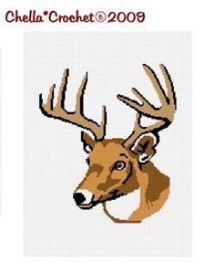 SALE see SHOP for details Chella Crochet Deer Buck Stag Antlers Head Afghan Crochet Pattern Graph Chart .PDF. $3.80, via Etsy.
