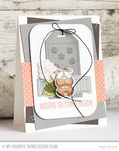 Lucky Dog, Lucky Dog Die-namics, Build-able Bouquet, Build-able Bouquet Die-namics, Inside & Out Stitched Rounded Rectangle STAX Die-namics, Tag Builder Blueprints 5 Die-namics - Inge Groot  #mftstamps