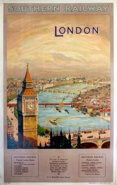 London southern railways, 1924 - original vintage poster listed on Posters Uk, Train Posters, Railway Posters, London Poster, British Travel, Southern Railways, Illustrations, Advertising Poster, Vintage Travel Posters