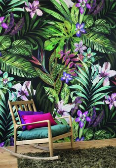 Garden by Casadeco - Green Multi-Colour - Mural - PANA 8134 72 35 The new Casadeco Panama wallpaper collection has some amazing tropical designs.The new Casadeco Panama wallpaper collection has some amazing tropical designs. Interior Tropical, Tropical Home Decor, Tropical Design, Tropical Houses, Tropical Garden, Tropical Colors, Tropical Furniture, Casadeco Wallpaper, Wallpaper Direct