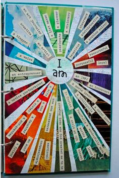 I AM...Make a collage of a color wheel. Then print out words or write words abut yourself on top of the collage.