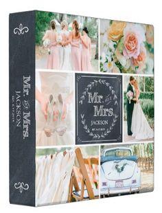 Chalkboard Shabby Chic Photo Album #chalk #personalized #wedding_photo