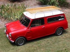 Classic Mini Cooper with full roof rack.