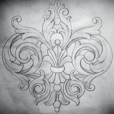 Acanthus motif More Mais Leather Carving, Wood Carving, Stencils, Tattoo Hals, Neue Tattoos, Carving Designs, Leather Pattern, Arabesque, Leather Craft