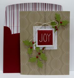 Stampin' Up Mistletoe & Holly November 2015 Paper Pumpkin Kit made by Lynn Gauthier.  Go to http://lynnslocker.blogspot.com/2015/11/stampin-up-paper-pumpkin-mistletoe.html for more details on this project.