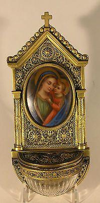 Antique German Bronze Crystal Porcelain Painting  Madonna Jesus Holy Water Font