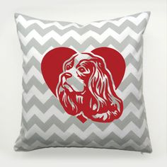 Decorative Pillow Cavalier King Charles Spaniel Dog Heart by PSIAKREW on Etsy