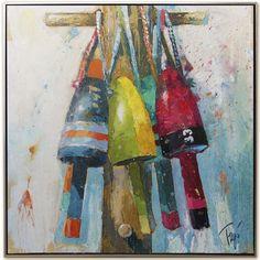 """Baby Buoys"" by Trip Park. Acrylic and Mixed Media. 30"" X 30"". Available at www.maine-art.com. #maineart #art #buoys"