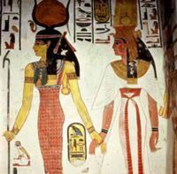 Ancient Egypt: New Kingdom, Beaded dress on L