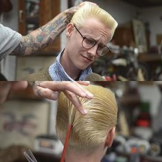 Flattop boogie, with DA. Very nicely executed. Popular Mens Hairstyles, Unique Hairstyles, Straight Hairstyles, Fashion Hairstyles, Barber Shop Haircuts, Haircuts For Men, Short Hair Cuts, Short Hair Styles, Modern Pompadour