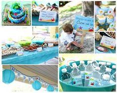 under the sea pool party inspiration & link to super cute etsy printables from chickabug