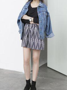 Blue Loose Distressed Denim Jacket | Choies