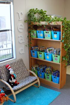 What a cute, cozy classroom library area! You could buy or spray paint book tubs and get a matching rug. What a fun area!