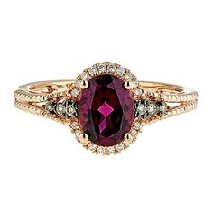 Rhodolite Garnet & 1/8 ct. tw. Champagne & White Diamond Ring in 10K Rose Gold - 2207505