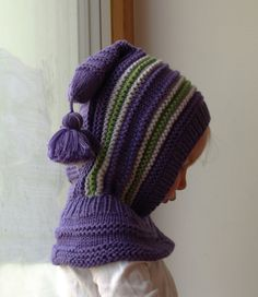 READY TO SHIP size 1-3years, Merino Balaclava Hat, Baby/ Toddler/ Children Hoodie hat with Pom Pom Tail, Purple Hat 6-12 Month, 3-6-10 years