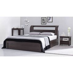Sutherland Hydraulic Crafted King Size Bed Abstract Wooden Bed- King Size Bed for Bedroom Area- you will find a well-shaped block Storage in this - Chocolate Brown Colored with Super Fluffy Cushioned