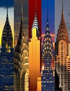 A 63 pieces jigsaw puzzle from Jigidi Vintage Prints, Vintage Posters, Vintage Art, New York Illustration, Modern Entertainment Center, Art Deco Buildings, Interesting Buildings, Chrysler Building, Photomontage