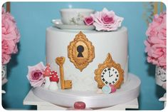Beautiful cake at an Alice in Wonderland birthday party! See more party ideas at CatchMyParty.com!