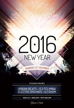 New Year Flyer Template by styleWish (Buy PSD file $9)