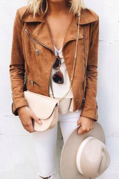 Leather & white jeans / Add a Sinchi™ & a Scarf / Be Chic / www.SinchiScarfClip.com