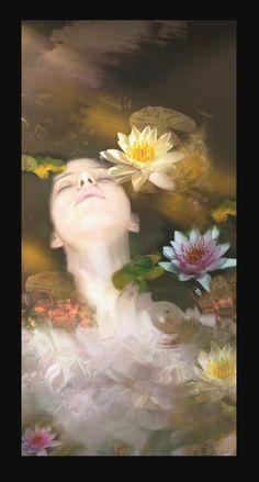 ~Ophelia at rest adorned in flowers ~ Underwater Photography, Art Photography, Lily Pond, Water Lilies, Art Sketchbook, Figure Painting, Art Inspo, Collage Art, Art Reference