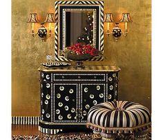Oh my... tango mirror, chest & ottoman, black & white, elegant with whimsy.