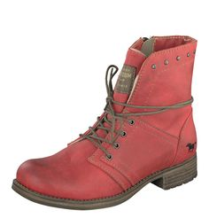 Mustang 1139-610 Women's Red Low Heel Lace Up Ankle Boots