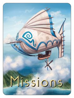 Mission Card Airship of the Morfea Steam Guild. Art by Tom McGrath. From the board game: Airships of Oberon. Dirigible Steampunk, Steampunk Airship, Dieselpunk, Fantasy World, Zeppelin, Cyberpunk, Tom Mcgrath, Board Games, Steam Punk