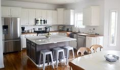 My husband just finished a client's kitchen makeover. Painting the oak cabinets white made a huge difference in this space. He also installed new butcher block… Painting Oak Cabinets, Home Kitchens, Living Room Designs, Kitchen Dining, Home Furniture, Kitchen Remodel, Diy Home Decor, Modern, Sweet Home