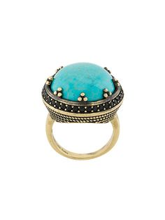 IOSSELLIANI Elegua turquoise ring. #iosselliani # Iosselliani, Designing Women, Statement Rings, Ring Designs, Turquoise Bracelet, Plating, Brass, Elegant, Bracelets