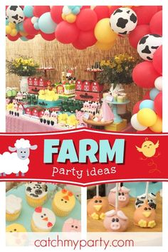 Check out this awesome farm animal themed birthday party! The birthday cake is a. - Featured Parties from Catch My Party - Animal Themed Birthday Party, Farm Animal Birthday, Farm Birthday, Birthday Cake, Circus Birthday, Circus Party, Party Animals, Farm Animal Party, Shared Birthday Parties