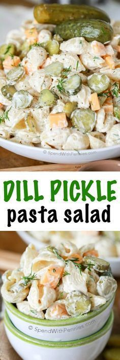 Dill Pickle Pasta Salad Recipe via Spend With Pennies - EVERYONE went totally crazy for this recipe! Dill Pickle Pasta Salad is literally my favorite pasta salad ever! In this creamy pasta salad recipe, dill pickles play a starring role and add tons of Barbecue Sides, Barbecue Side Dishes, Cookout Side Dishes, Summer Side Dishes, Sides For A Cookout, Party Side Dishes, Potluck Side Dishes, Side Dishes Easy, Creamy Pasta Salads