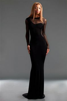 BLK LONG SLEEVE JERSEY AND MESH GOWN