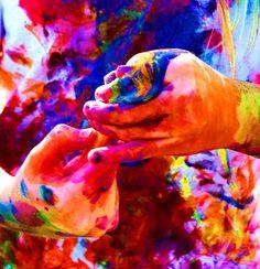 Girl Painting a Rainbow