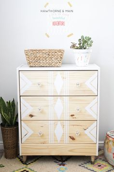 before and after: plain chest of drawers gets personalized with paint