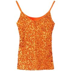 Orange Slimming Ladies Sleeveless Strap Sequined Camisole Top ($13) ❤ liked on Polyvore featuring tops, strappy tank, sleeveless tank tops, orange tank top, strappy tank top and orange cami
