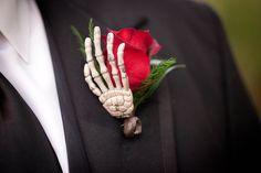 wedding boutonniere gothic halloween inspired