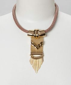 Love this Brown & Gold Faux Leather Spike Pendant Necklace