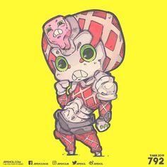 I am too cute to resist. Bizarre Art, Jojo Bizarre, King Crimson Jojo, Little Nightmares Fanart, Anime Fight, Jojo Parts, Chibi Characters, Jojo Memes, Cute Chibi