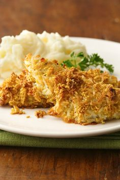 Sweet and Salty Coconut Chicken - Coconut adds a tropical twist to this crispy baked chicken that's made using Honey Nut Chex® cereal - perfect for dinner. Chex Recipes, Cooking Recipes, Healthy Recipes, Healthy Food, Paleo Recipes, Yummy Recipes, Healthy Eating, Coconut Chicken