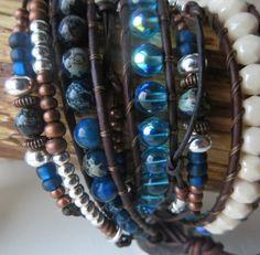 Midnight Blue Jasper Leather Wrap Bracelet, Leather Cuff, Wrap Bracelet, Handmade Beaded Wrap Bracelet